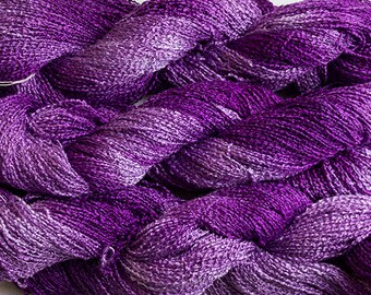 Lark, Hand-dyed Fine Rayon Boucle,, 300 yds  - Grape Tonal