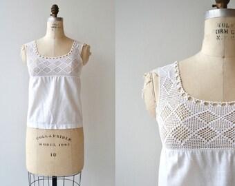 Crochet Cami | antique 1910s cotton camisole | Edwardian white cotton camisole