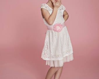 White lace girls dress, Country Rustic flower girl dress, Junior Bridesmaid,Baby toddler lace dress, White lace communion dress, Pink dress