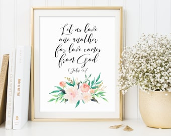 1 John 4:7, Let Us Love One Another, Christian  Wall Art, Love Printable, Love Print, Scripture Print, Christian Print, Bible Verse Print