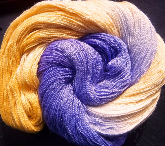 Alpaca Silk Lace 2ply Spring Violets & Primroses Elvincraft Hand Dyed Painted Yarn