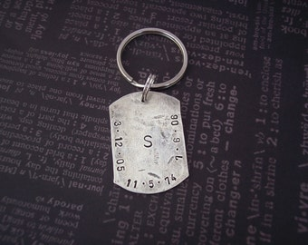 Hand Stamped Custom KEY CHAIN Sterling Silver. Personalized  for DAD, Groom, Husband, Groomsmen