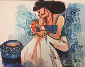 African Painting. After Work. Acrylic Painting On Canvas Board.