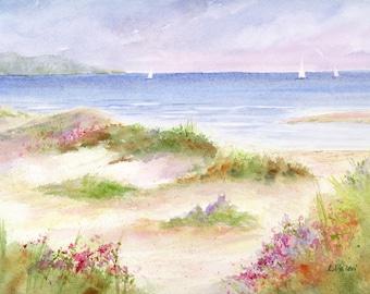 Cape Cod Beachview Ocean Dunes Roses Sailboats