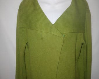 Eileen  Fisher 100% Cotton Wide Collar Long Sleeve Ribbed Cardigan Sz Sm