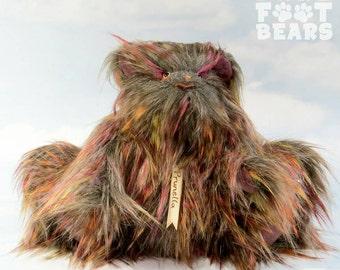 Sale! -Teddybeer artist 'Prunella' multi & paars faux bont, kasjmier OOAK handgemaakte - mijn dragen voet beren