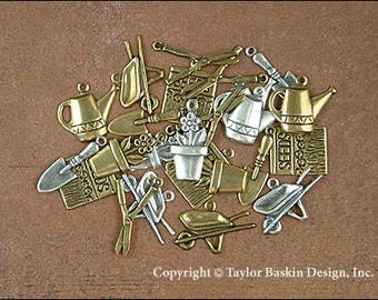 REDUCED Price -- Gardening Charms Mixed Lot - 24 Pieces