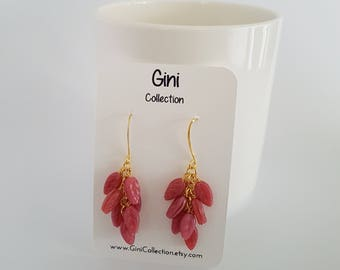 Vintage pink glass beads, wire wrapped, gold plated earrings.