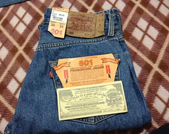 Brand New Vintage Levi's 501 Blue Denim Stonewashed Jeans W30 L34 Made In EU 90's