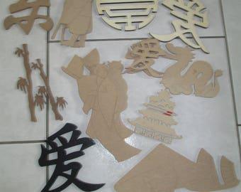 set shapes Chinese Asian wood