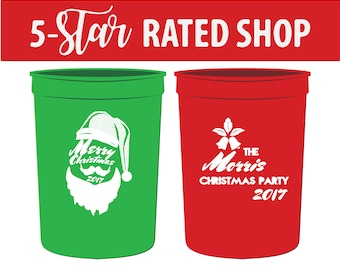 Merry Christmas Plastic Cups, Christmas Stadium Cups, Beer Cups for Christmas Party, Holiday Cups, Holiday Party Cups, Christmas Cups (127)