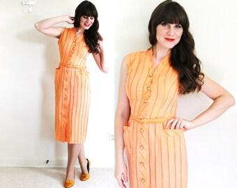 1940's Dress / 40s Wiggle Dress / 1940's Coral Orange Dress