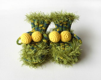 Hand Knitted Baby Booties - Green, 6 - 9 months
