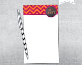 Chalkboard and chevron notepad. Personalized notepad. Teacher gift notepad.
