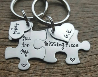 Personalized You Are My Missing Piece with Name Hearts Puzzle Piece Key Chain Set Gift For Him