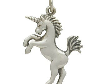 Unicorn charm. Sterling silver unicorn jewelry charm or pendant. Make earrings, necklace, or add to charm bracelet. Gift for her.