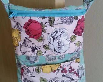 Teal Flower Crossbody Messenger Bag