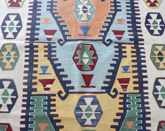 3 1/2 x 5 ft Natural Dye Wool Kilim Rug Blue Green Peach Yellow Beige Burgundy Tribal - Konya Ethnic Boho Area Rug- Turkish Made