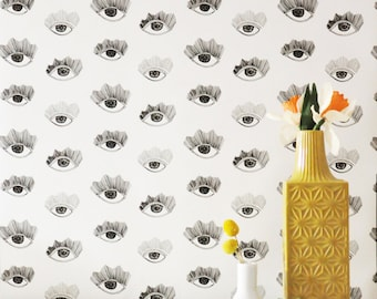 Removable Wallpaper // Bright Eyes Print // Eco-friendly, PVC free, FSC certified paper // Perfect for renters and DIY projects