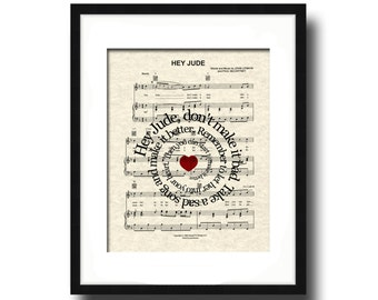 Hey Jude Song Lyric Sheet Music Art Print, Custom Gift, Spiral Word Art, Nursery Art, Name and date