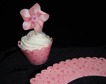 Pearlized Pink Heart Cupcake Wrappers