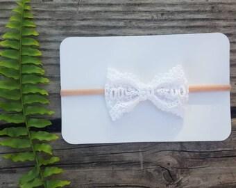 Girls white lace bow on nylon headband, baby girl lace bow headband, white lace headband
