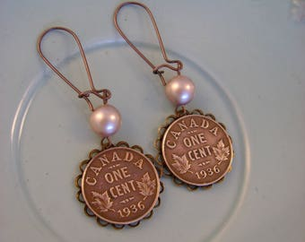 Oh Canada - Vintage Authentic Canadian 1936 One Cent Copper Coins Bezels Pearls Recycled Repurposed Jewelry Earrings