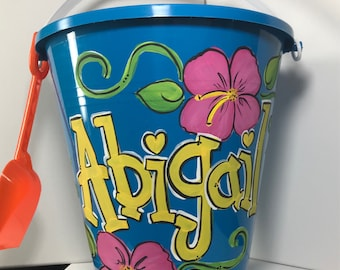 Personalized sand bucket | personalized sand pail | hand painted sand bucket