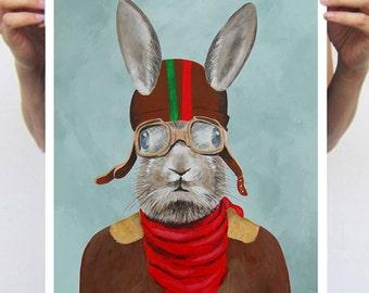 Rabbit Print, Rabbit Art Print, Rabbit Bunny Print, Rabbit Art, Bunny Print, Rabbit Wall Art, 11x17, Aviator, Beige, Wall Art, Art Print
