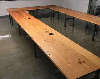 U Shaped - Reclaimed Conference Table (price includes shipping and installation)