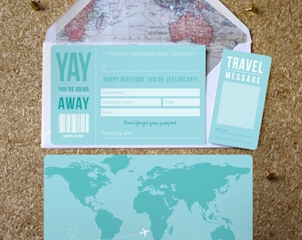 Blue Birthday Boarding Pass with optional map infil