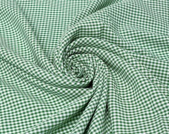 Keira HUNTER GREEN Mini Checkered Poly Poplin Fabric by the Yard - 10048