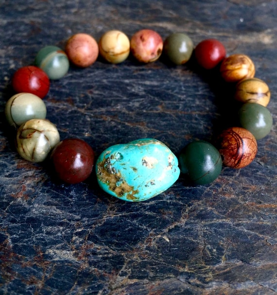 Wrist Mala Red Creek Jasper and Turquoise Mala Bracelet, Protection, Courage, Strength Stretch Wrist Mala, Stackable Bracelet, Yoga Jewelry