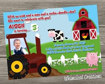 Farm Birthday Invitation, Tractor Birthday Invitation (Digital File) I Design, You Print