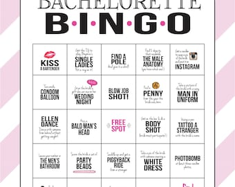 Bachelorette Party Game: Bingo Dare Sheet (Digital File, Print It Yourself!) Bachelorette Game with Pink, Black and Lace