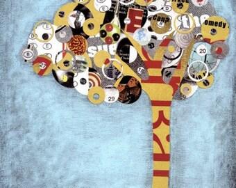 Tree Wall Art - 8x10 Mixed Media Wall Art Print - Collage Art Print