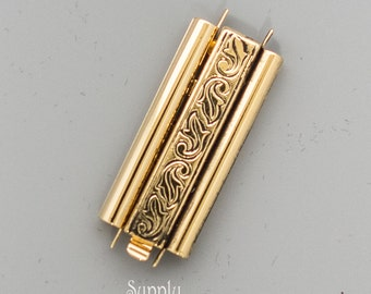 10x29mm Elegant Elements Beadslide Antique Gold Swirl Clasp, Delica Bead Bracelet Beadslide Clasp in Swirl Antique Gold, 3654