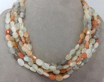 Natural Quartz & Carnelian Multi Strand Necklace   OAH38