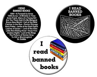 "Choose a BANNED BOOKS Pin or Magnet - For Librarians/Students/Book Readers - Choose One Large 2.25"" Button or Magnet"
