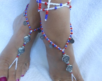 Crochet Barefoot Sandals Beach Wedding  Yoga Shoes Foot Jewelry Silver  White Red Blue