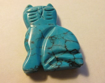 """Turquoise Howlite Carved Kitty Cat Bead, 1 1/4"""""""