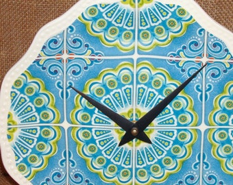 SILENT Turquoise and Lime Whimsical Print Wall Clock, Ceramic Plate Clock, Kitchen Clock, Unique Wall Decor, Housewarming Gift - 1871