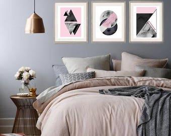 3 size A5 Geometric blush Pink, Black, White and Grey Marble Watercolour Prints