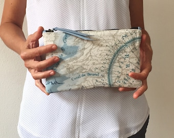 Woman clutch purse, clutch bag, woman polka dots bag, woman cotton purse, for her, polka dots clutch, clutch leather