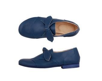 Leather Shoes blue women's flats handmade ADIKILAV , ON SALE