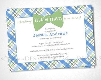 Little Man Bow Tie Baby Shower Invite - Blue - DIY Printable