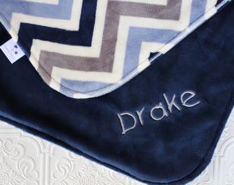 Baby Boy Blanket Personalized, Baby Blanket with Name, Chevron Baby Blanket, Personalized Chevron Baby Blanket , Personalized Minky Blanket