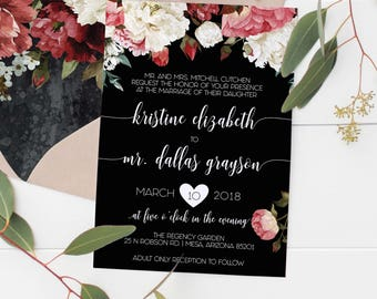 Marsala Invitation Set, Wedding Invitation Template, Floral Watercolor Invites, Calligraphy #MF005