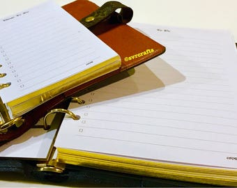 TO DO A5/PERSONAL Gold Edge/Shimmer/White Task Lists Planner Inserts, Printed, FITs Louis Vuitton Agenda gm mm