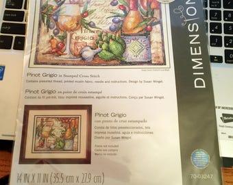 Cross Stitch Kit ~ Dimensions Pinot Grigio Wine & Vegetables #70-03247